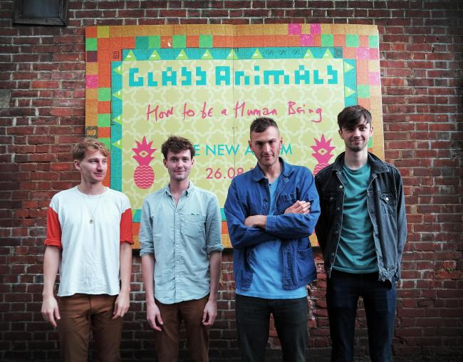 Oxford band Glass Animals launching their album How To Be A Human Being in 2016 at Truck Store on Cowley Road - Dave Bayley, Drew MacFarlane, Joe Seaward and Edmund Irwin-Singer Picture: Marc West