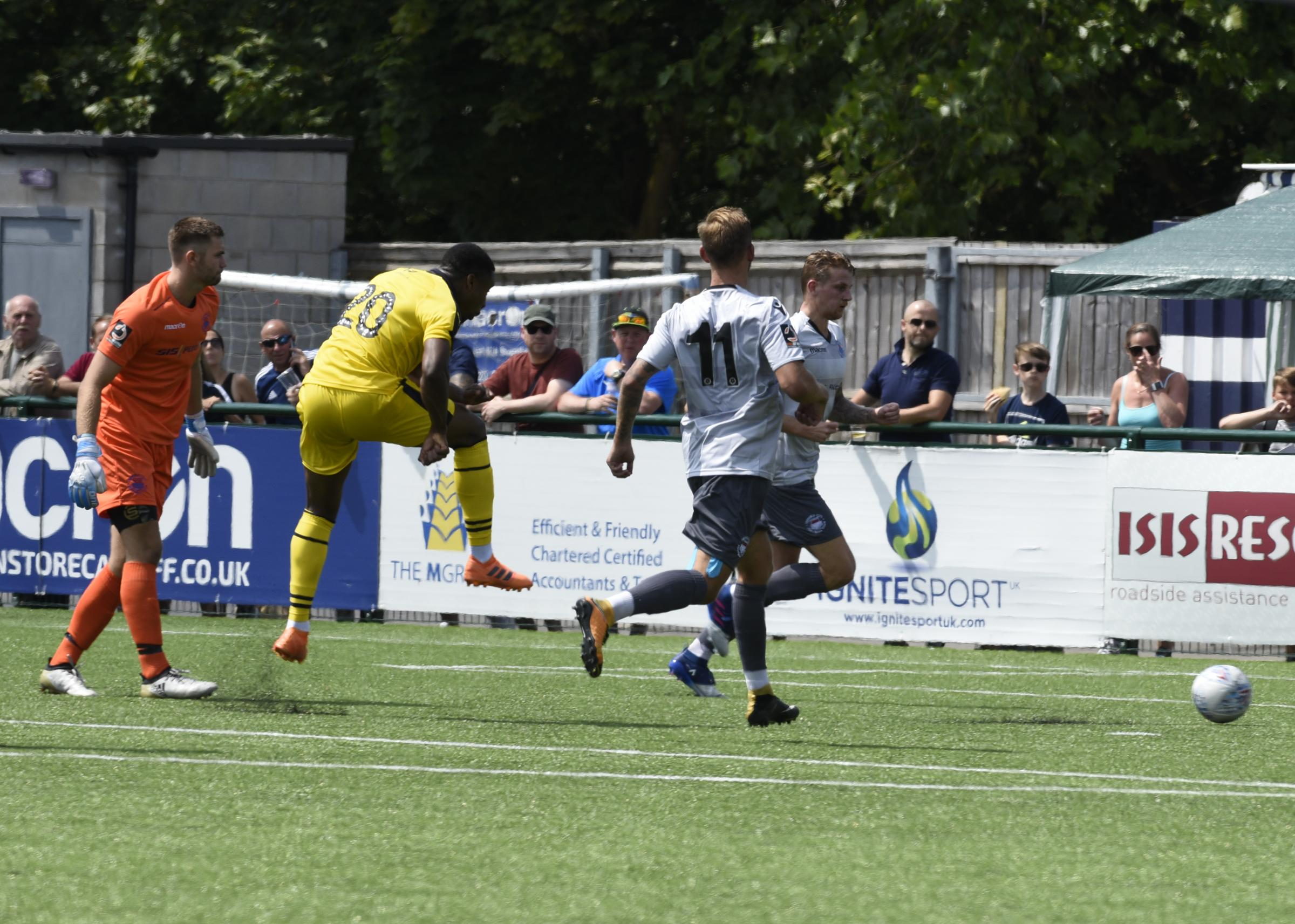 Jon Obika scores for Oxford United against Oxford City last week in their pre-season friendly Picture: David Fleming