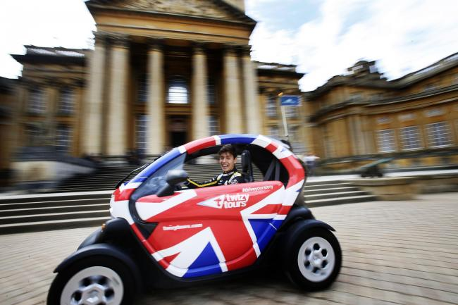 HE'S ELECTRIC: Renault F1 reserve driver Jack Aitken launches the new interactive Renault Twizy tour of Blenheim Palace Picture: Ed Nix