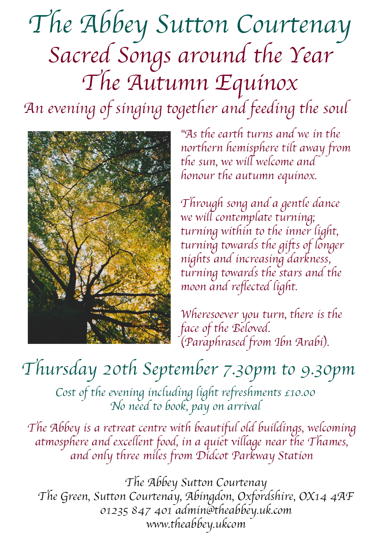 The Autumn Equinox Singing: Sacred Songs around the Year