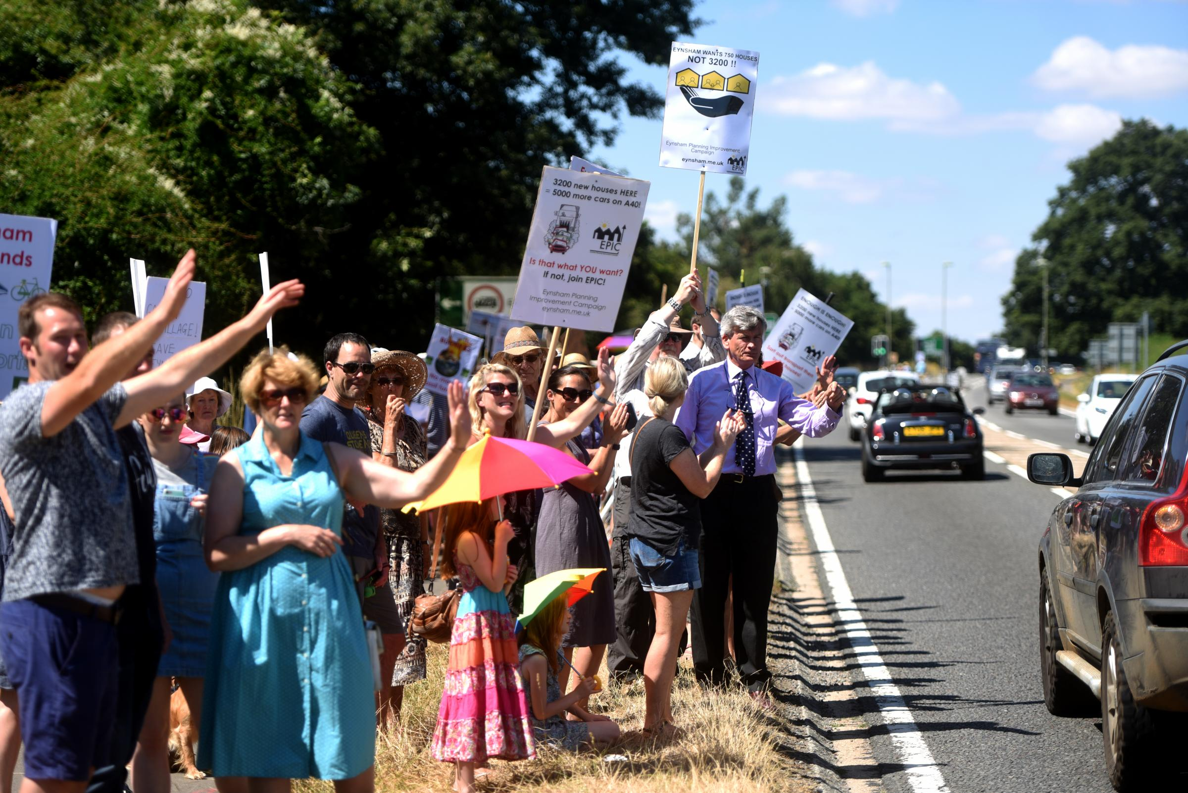 Eynsham villagers protest against the proposed new garden village north of the village Picture: Richard Cave
