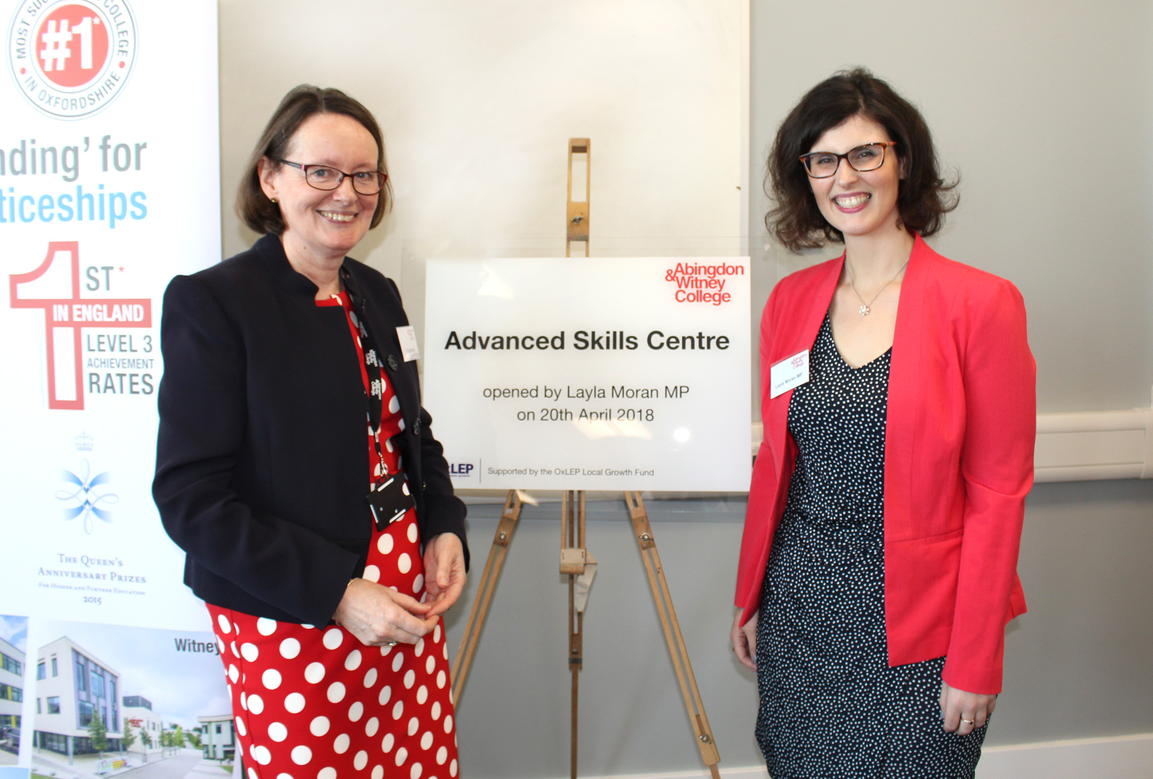 PERFORMING: Principal Di Batchelor and Layla Moran MP opening the college's new Higher Education Advanced Skills Centre in April 2018. Picture: Abingdon and Witney College
