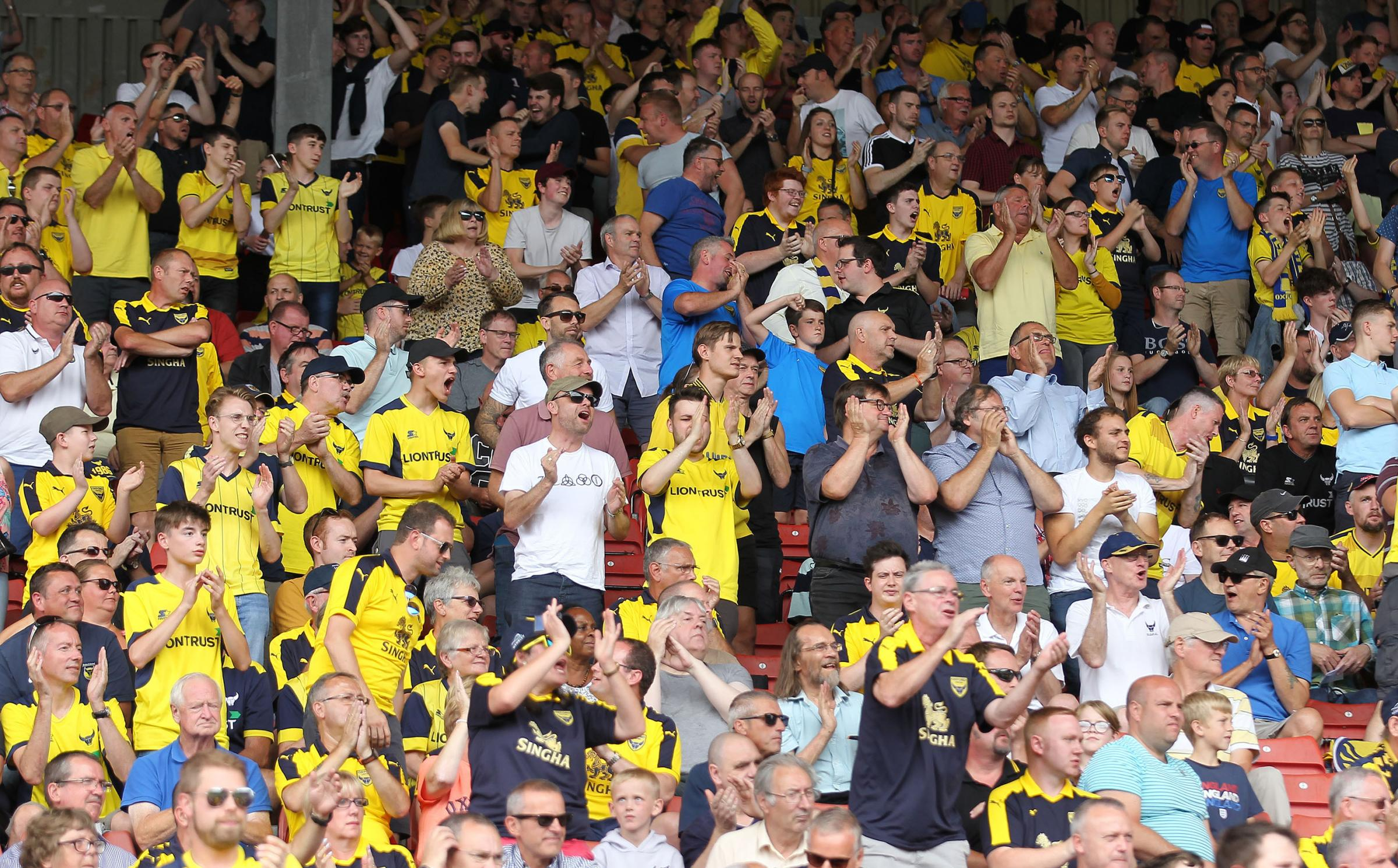 Oxford United fans, some of whom probably travelled by bus. Picture: Richard Parkes