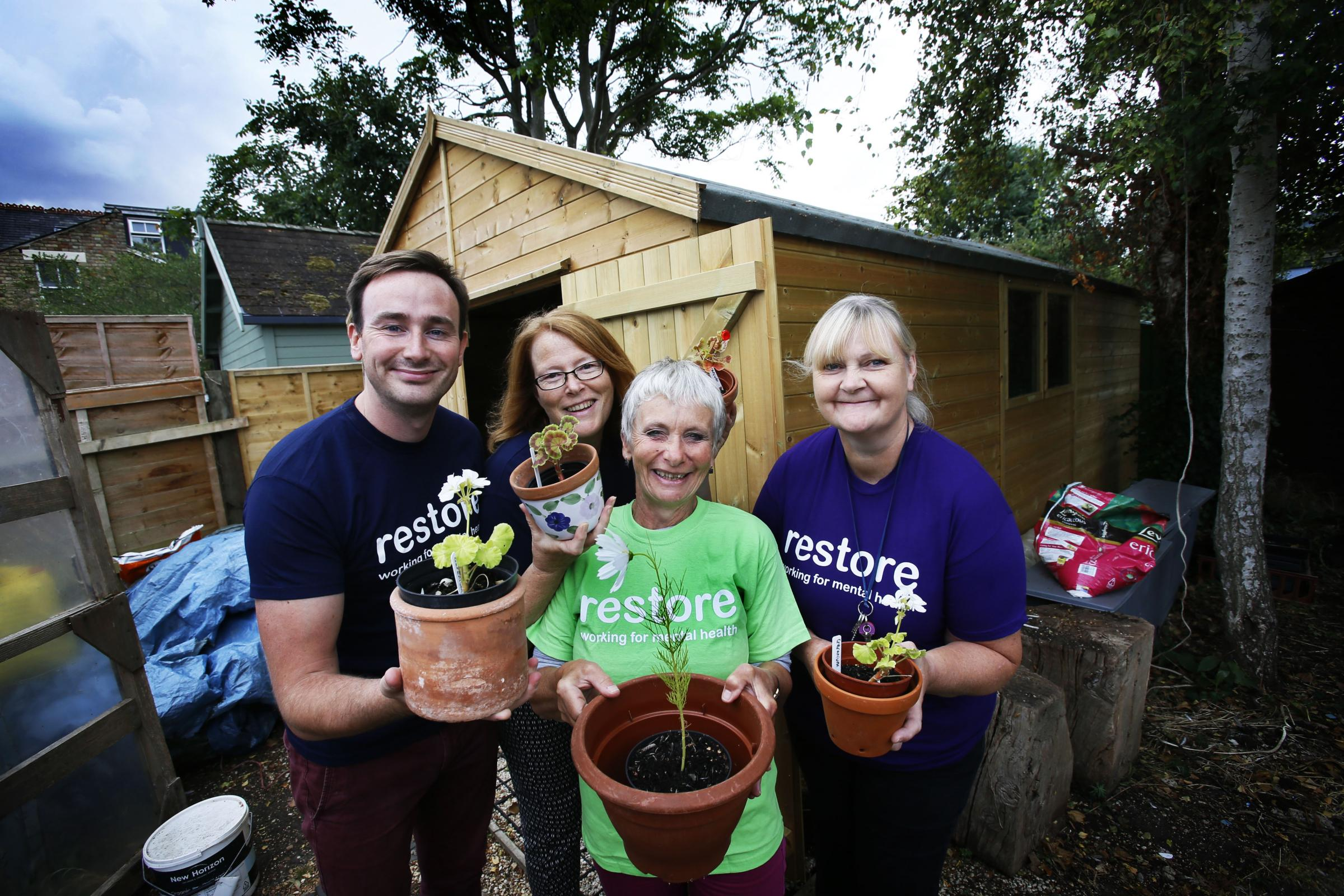 Update on Restore after charity was awarded £4,660 by the Gannett Foundation last year. The charity used it to pay for another potting shed called The Bee Hive.