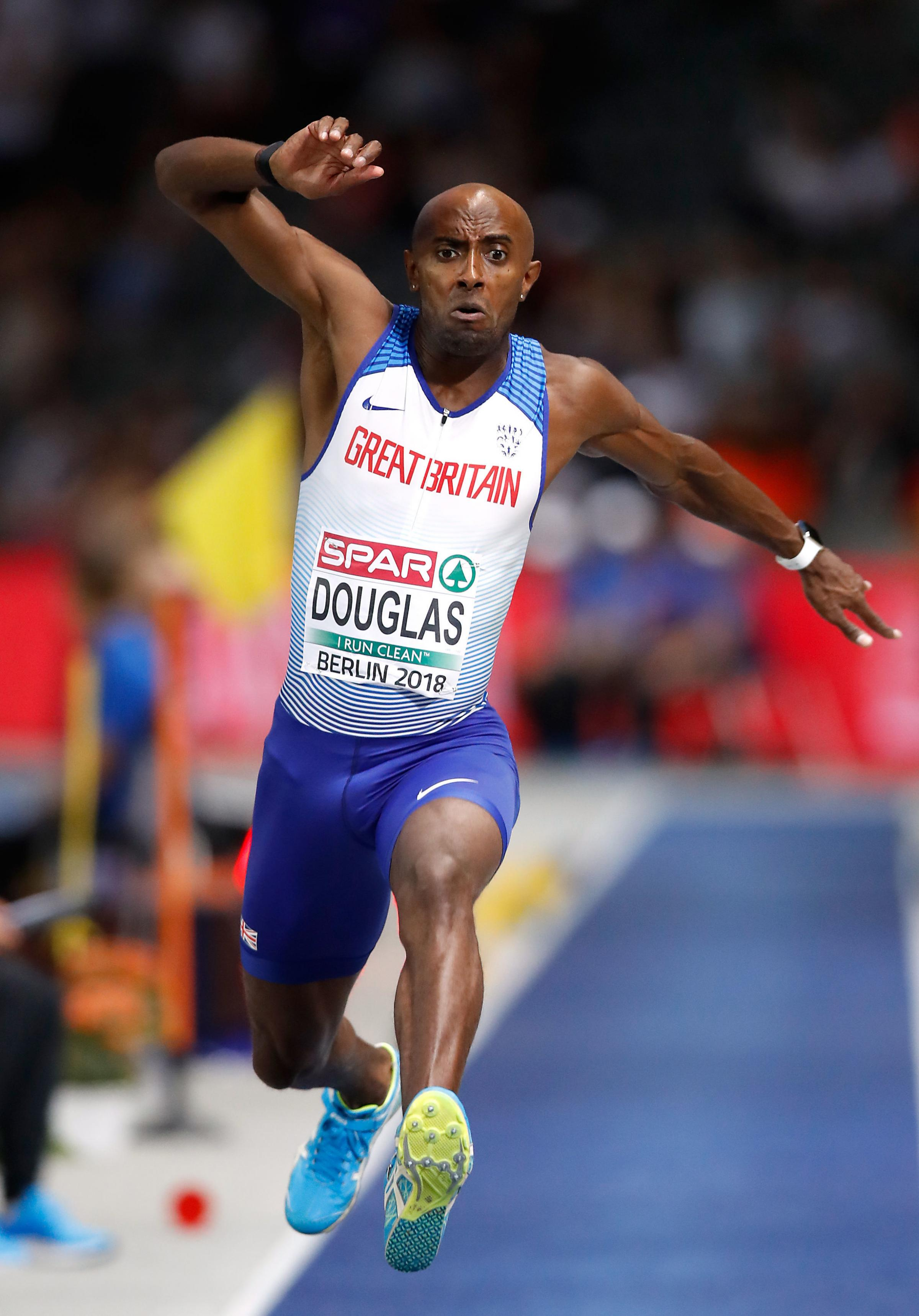 CLOSE: Nathan Douglas in full flow during the men's triple jump finalPicture: Martin Rickett/PA Wire