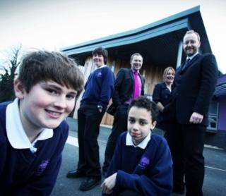 Pupils, left to right, Jonathan Bayliss, Justin Finnerty and Billy Clarke with teachers Nick Griffin, Sarah Stickland and Roger Nixon