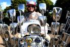 Oddballs Rally at Abingdon Rugby Club. Scooter rally of Vespa and Lambretta scooters and family entertainment, raising money for teenage cancer trust.Bill Jones of the Tin Soldiers Scooter Club (Milton Keynes)..Picture Richard Cave 11.08.18 ..