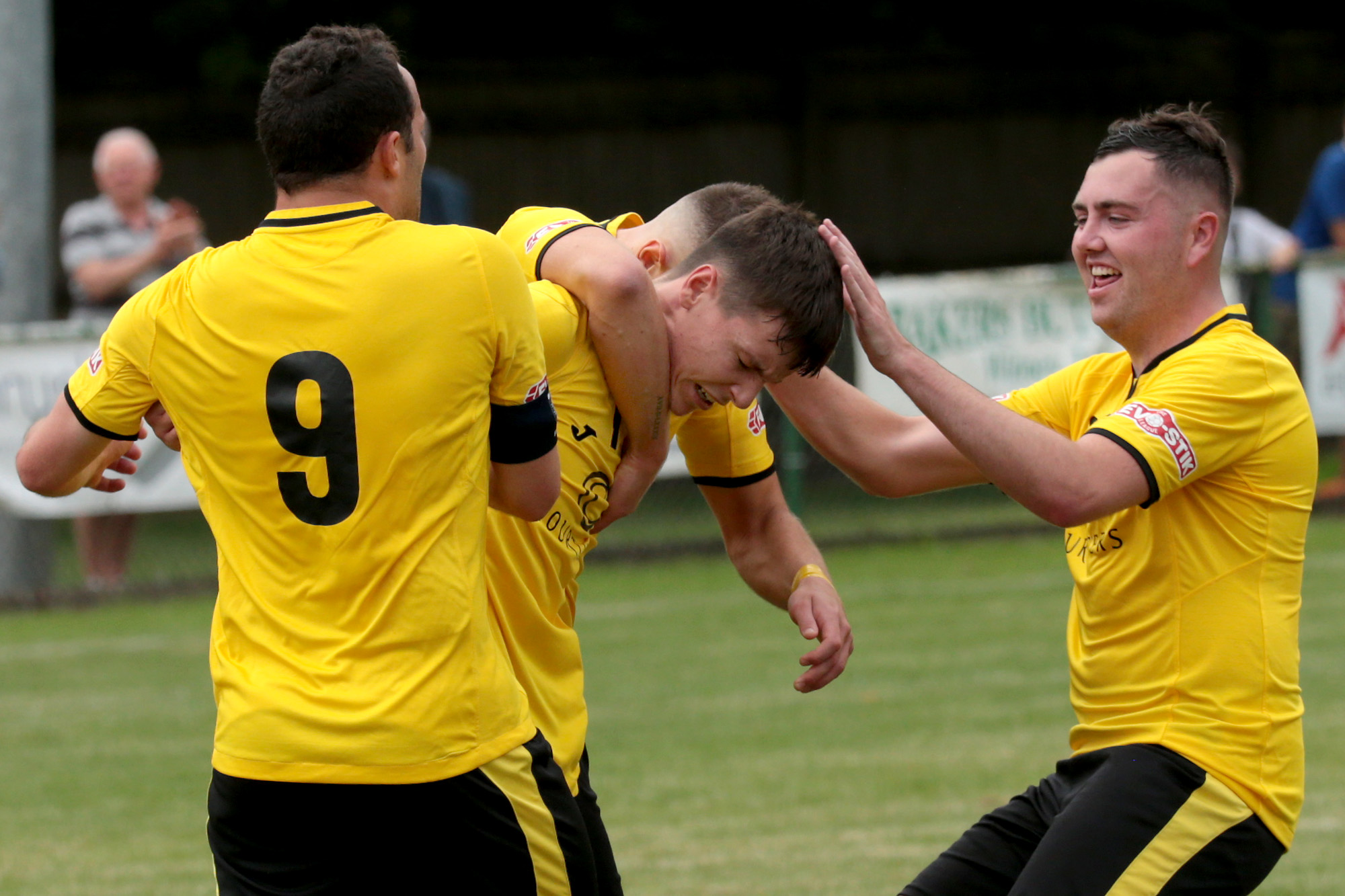 North Leigh celebrate a goal in their 3-1 win over Dunstable
