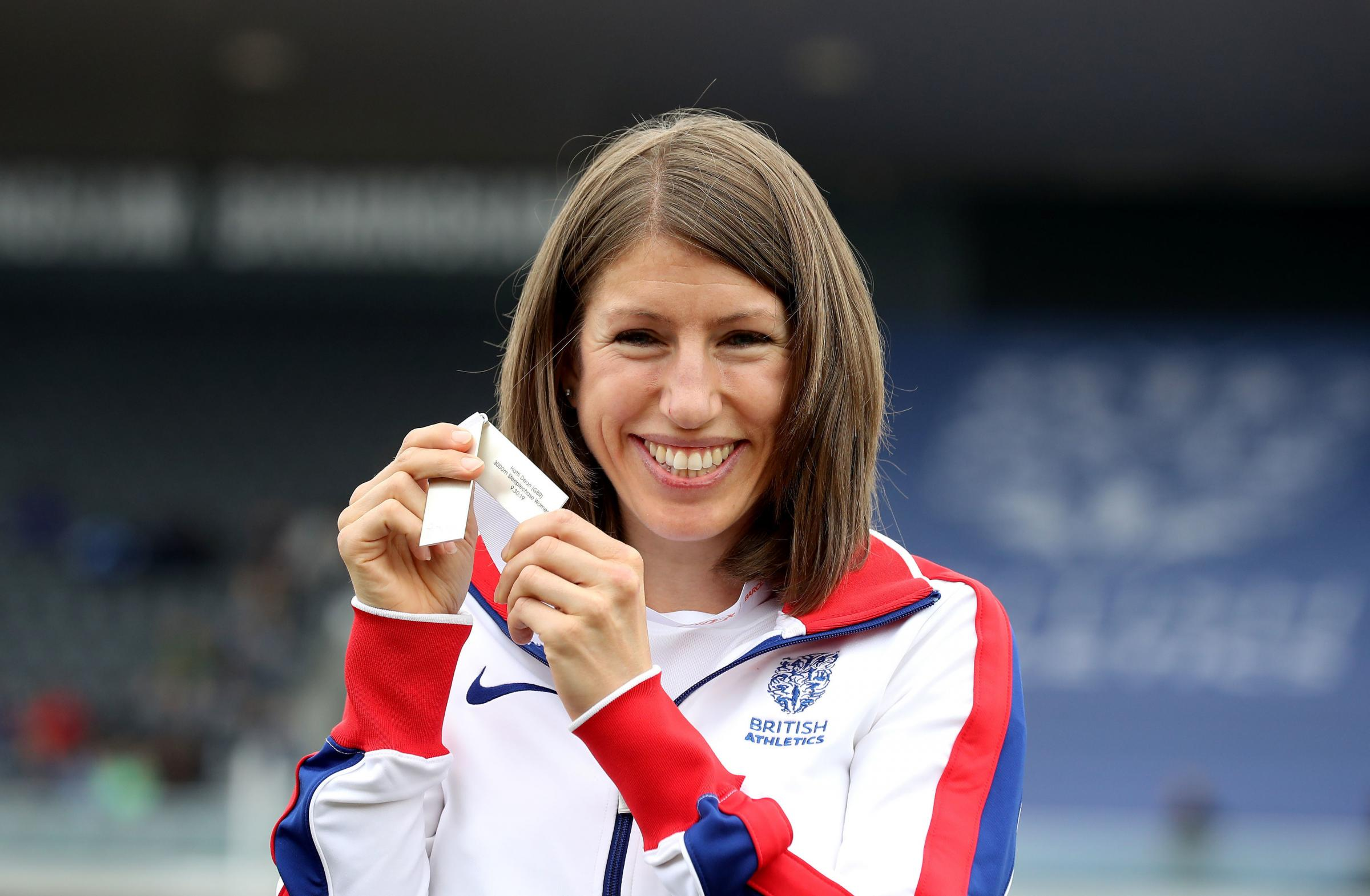 BETTER LATE THAN NEVER: Hatti Archer is all smiles after receiving her upgraded steeplechase silver medal for the 2010 European Championships                                                                                         Picture: Martin Rickett/P