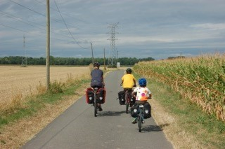 Alastair Weeks and family cycling in France