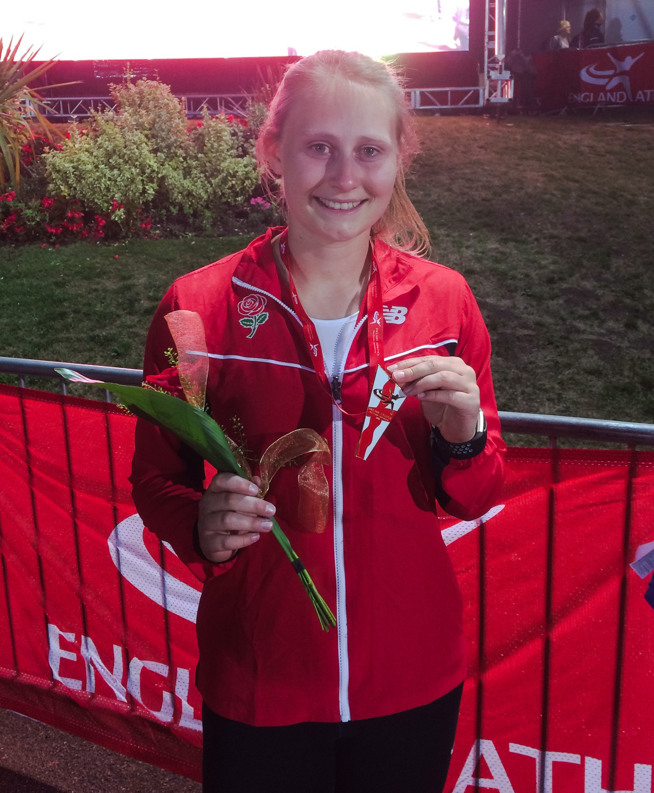 DELIGHT: Radley's discus thrower Kathyrn Woodcock with her bronze medal from the Manchester International