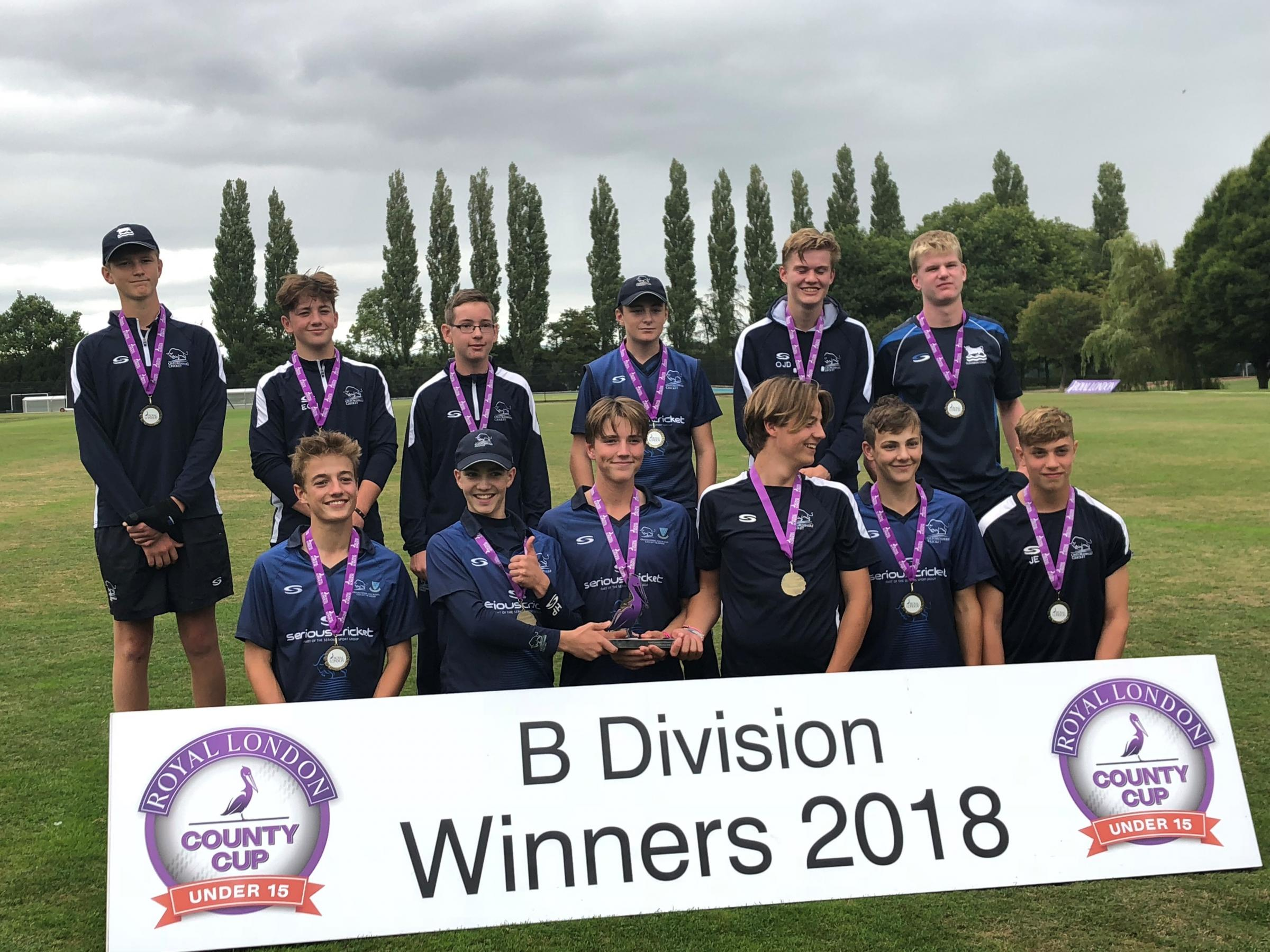 Oxfordshire's Under 15 side celebrate their national title. Picture: Simon Davie