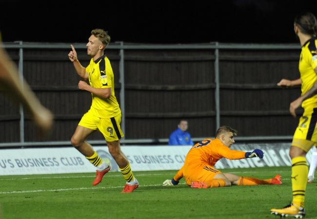 Sam Smith celebrates putting Oxford United ahead in the first half  Picture: David Fleming