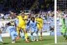 GOAL: Jon Obika scores against Coventry on SundayPicture: David Fleming