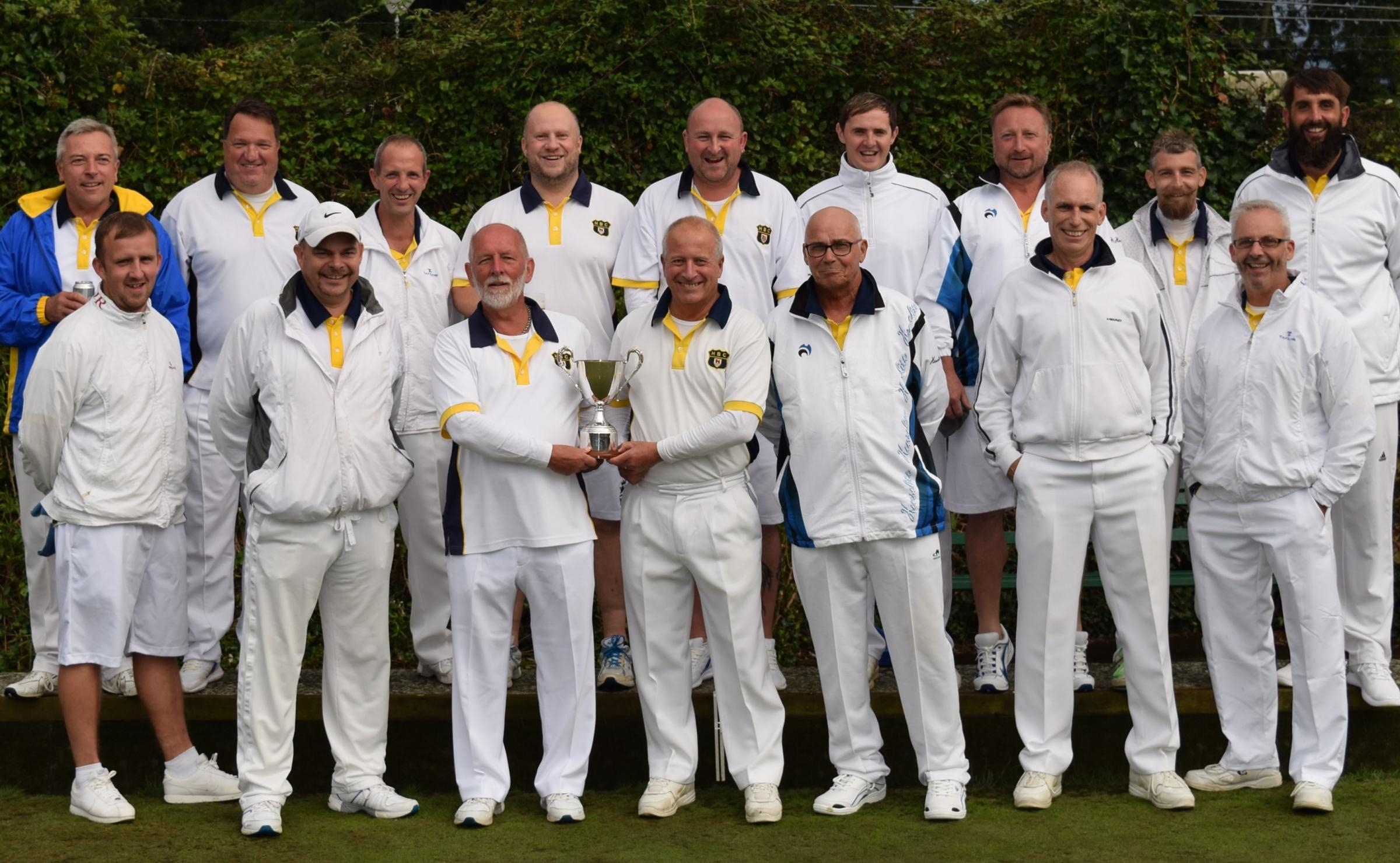 Headington Bowls Club team celebrate after winning the Oxford & District League Cup for the fifth year in a row