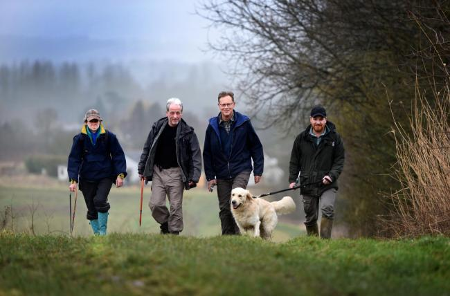 The Wild Oxford work party set out on a previous project at Chilswell Valley, South Hinksey. Left-to-right, Liz Owen, Bruce Wade, Andy Gunn and Anthony Timms. Picture: Richard Cave