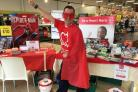 DONATE: Staff at Bicester's Tesco donned their super hero costumes all in aid of Brisith Heart Foundation
