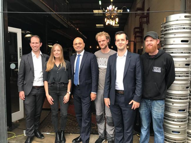 BREWING: Sajid Javid in Oxford. Picture: Tap Social Brewery