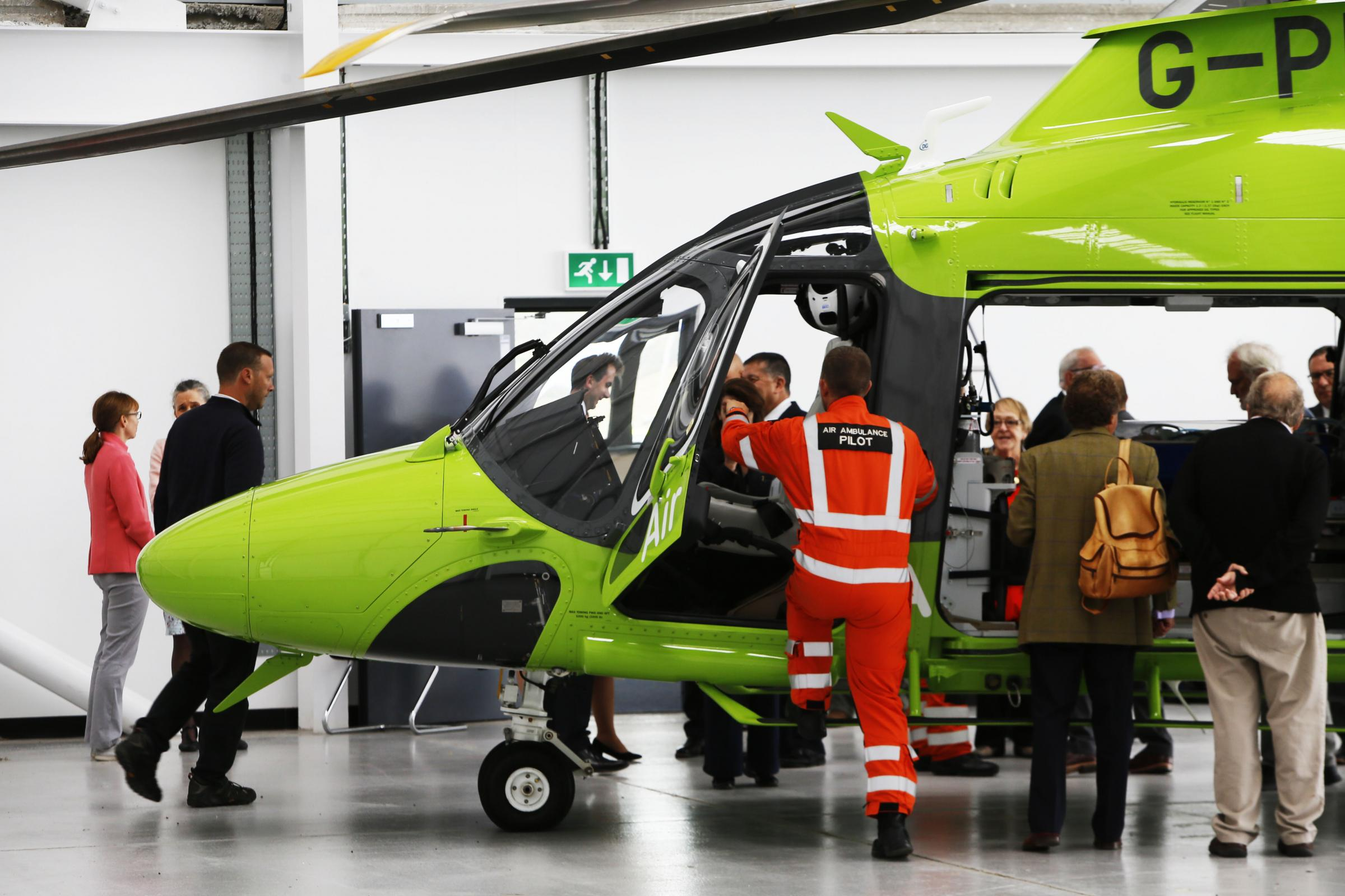 Staff show off the new Oxford air ambulance helicopter at its launch on September 12. Picture: Ed Nix