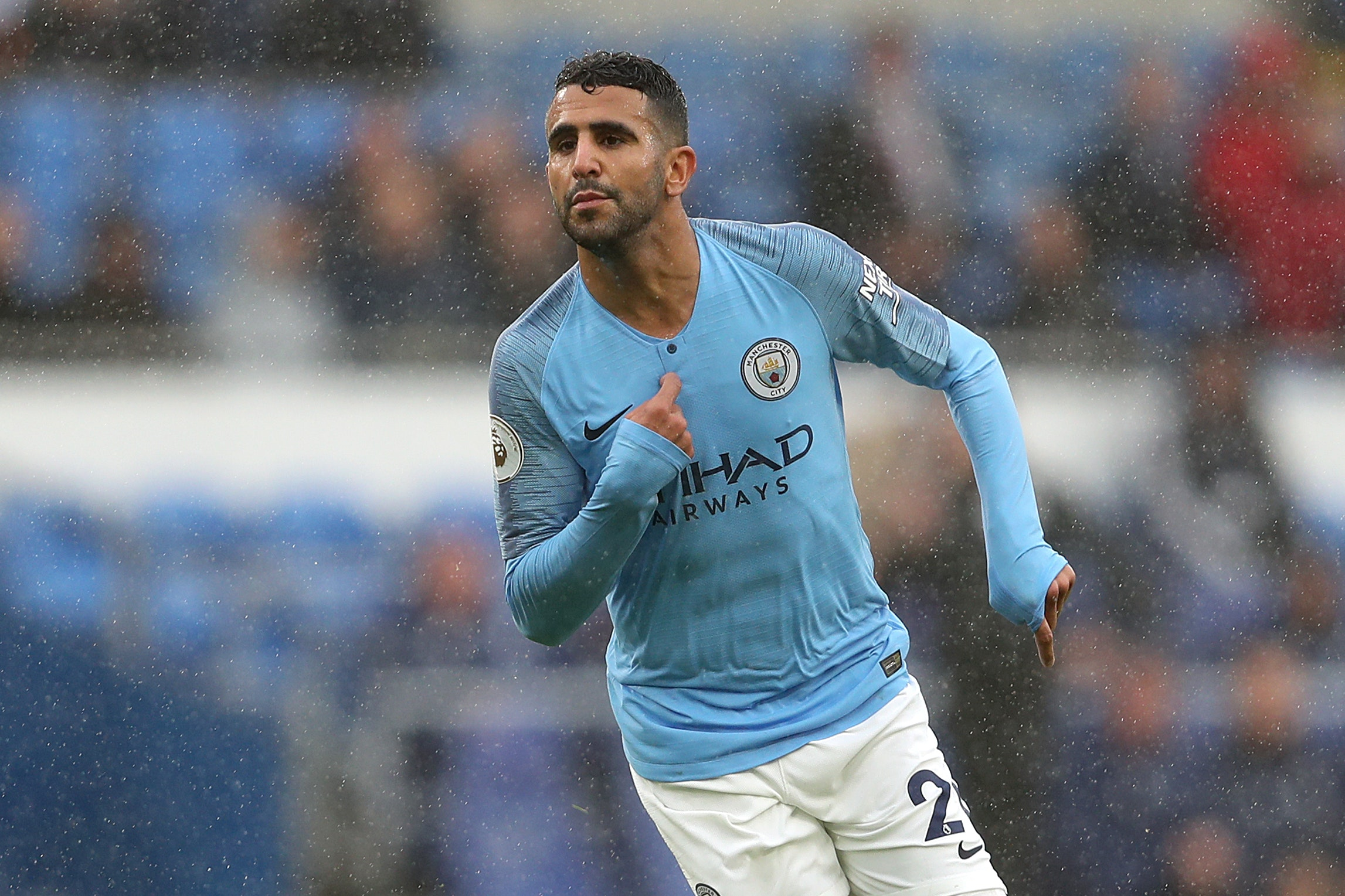 Manchester City's Riyad Mahrez celebrates scoring his side's fifth goal at Cardiff