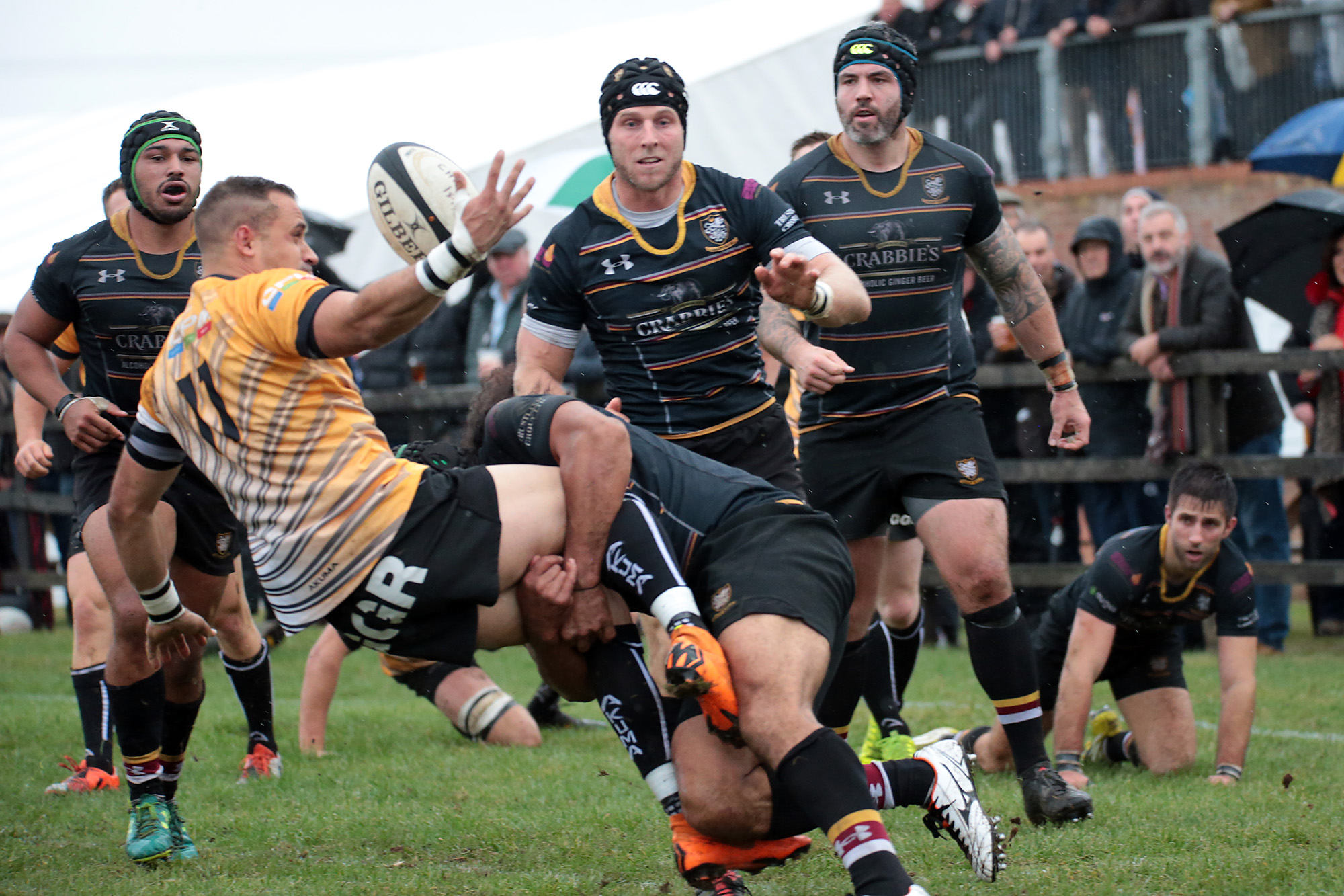 SO CLOSE: Chinnor winger Craig Holland is denied just inches from the line by a last-ditch tackle Picture: Ric Mellis