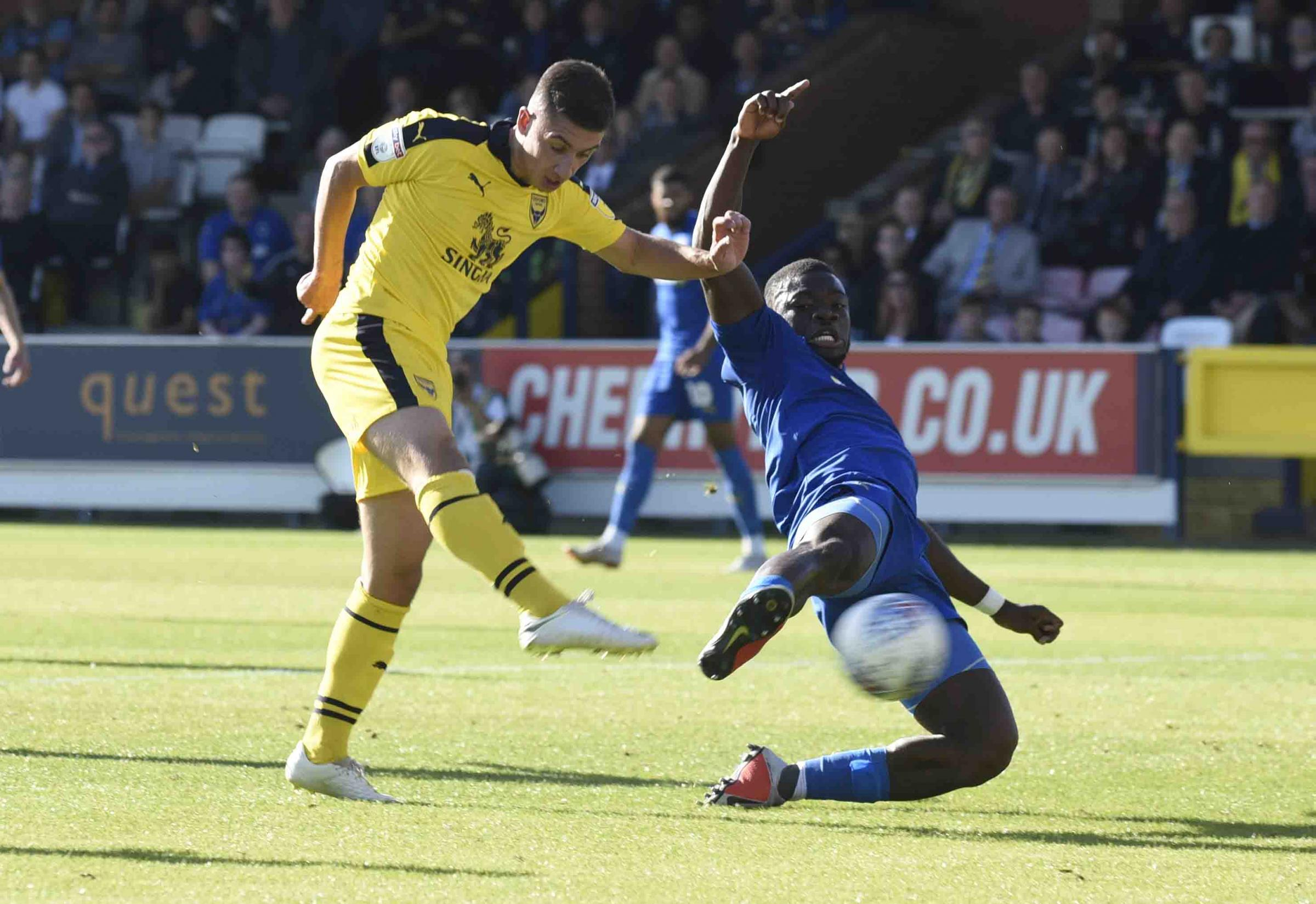 Cameron Brannagan scores for Oxford United just before half-time at AFC Wimbledon  Picture: David Fleming