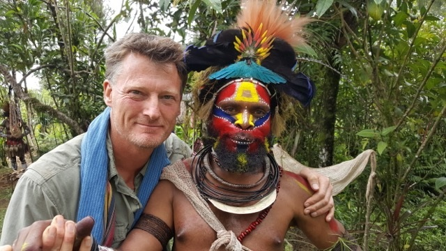 Benedict Allen with his friend Howard from Papua New Guinea
