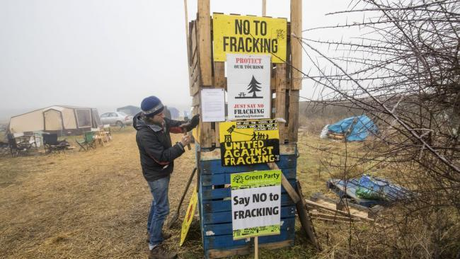 An anti-fracking protester in Scotland