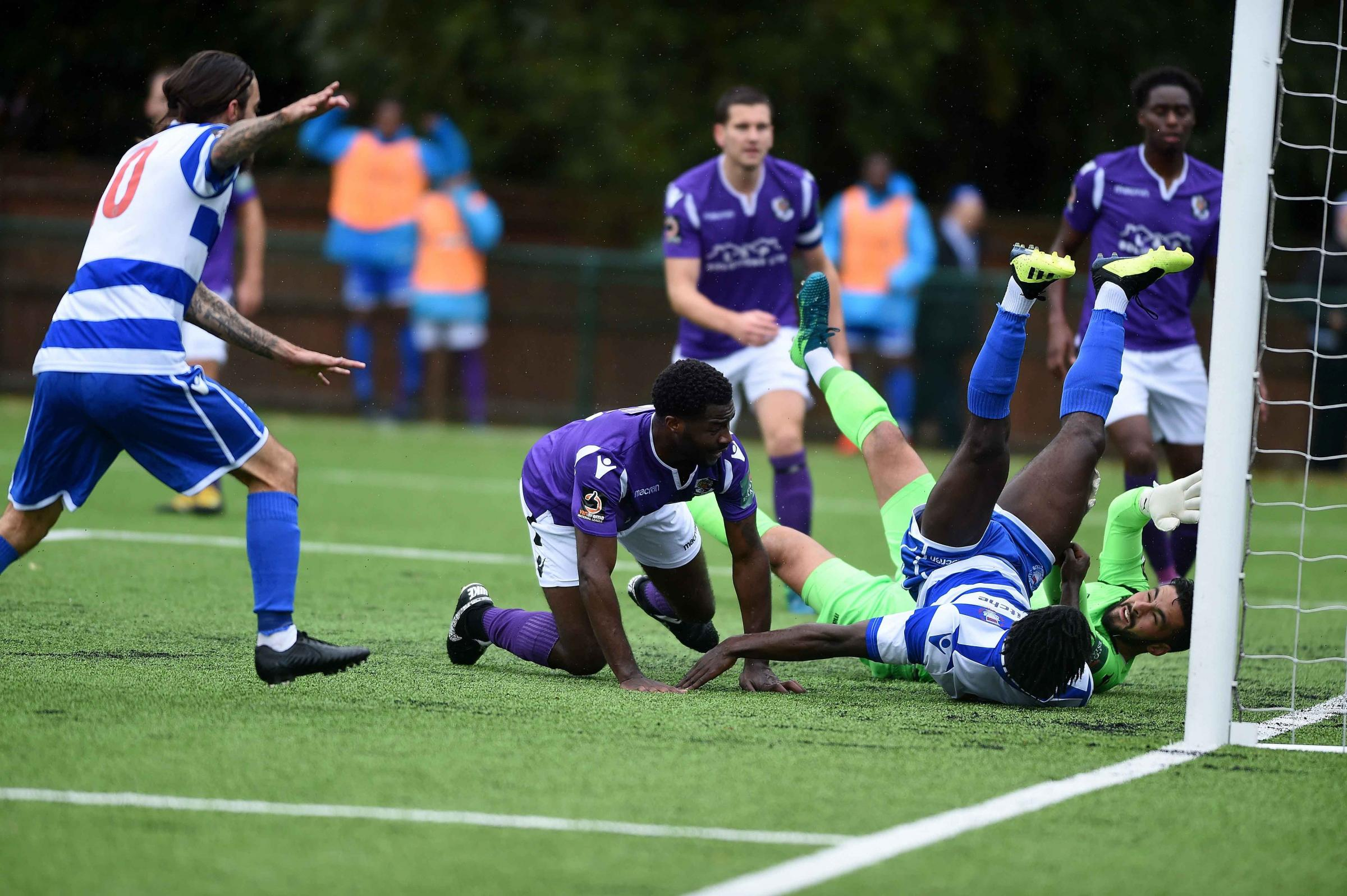 HAT-TRICK HERO: Kabongo Tshimanga bundles over for his first of the game Pictures: Mike Allen