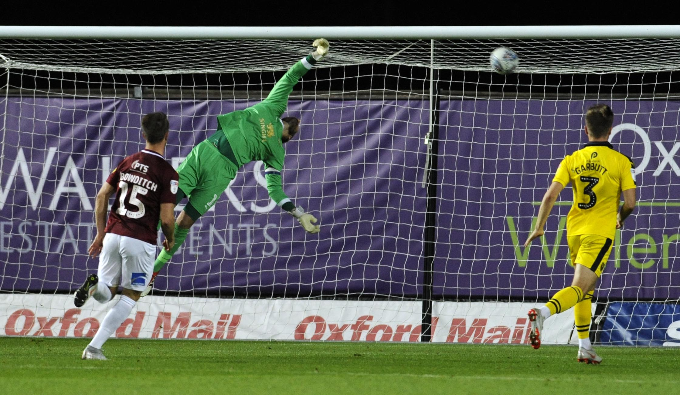 Simon Eastwood is unable to get close to Kevin van Veen's equaliser for Northampton Town  Picture: David Fleming