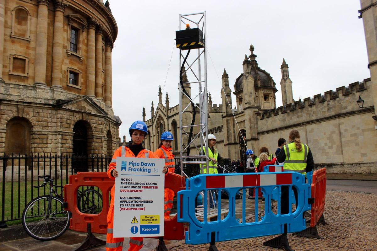 Fracking in Oxford: Protesters set up pretend company
