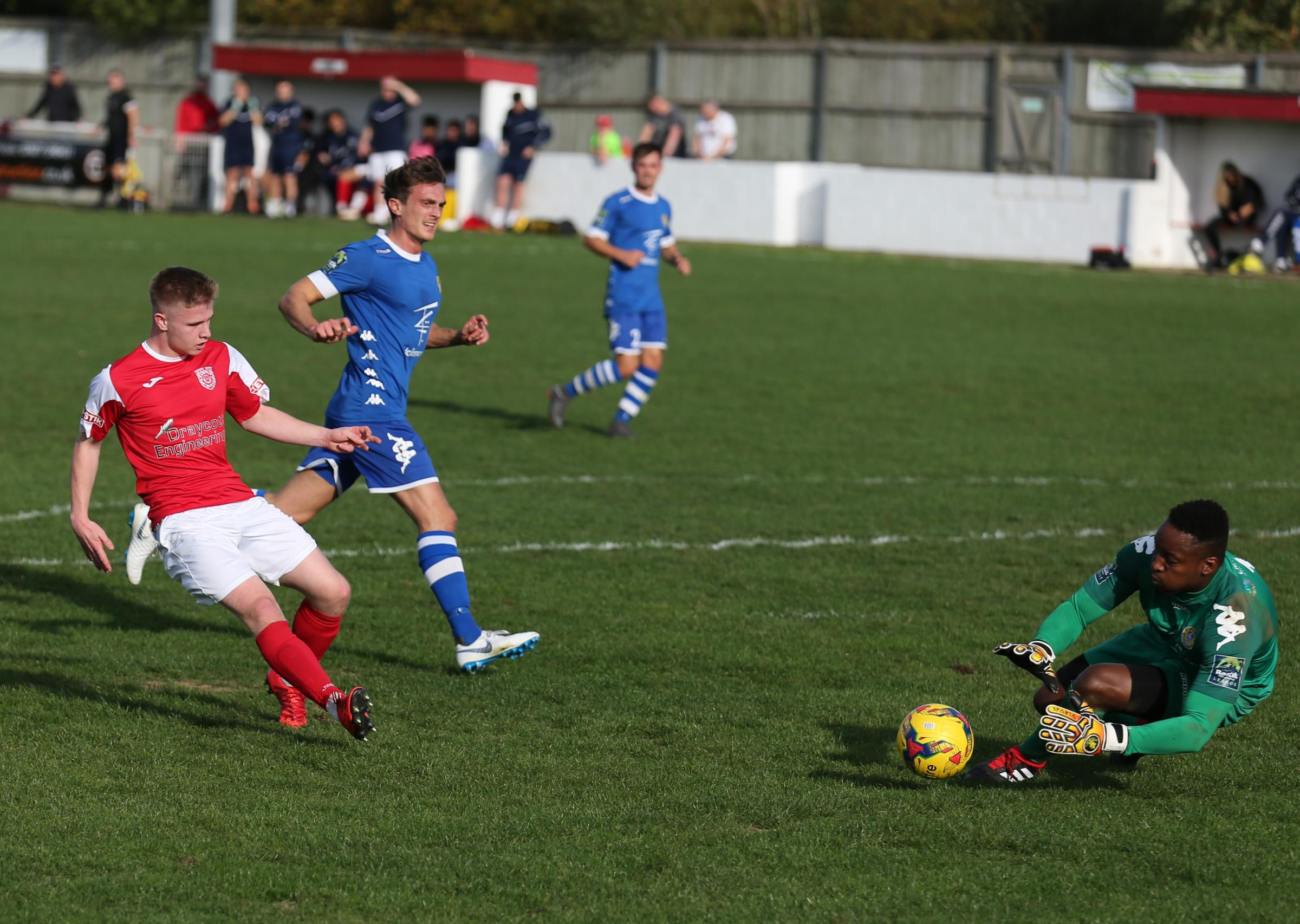 Brett Gardner's effort is saved in Didcot Town's FA Trophy win on Saturday  Picture: Roger Neal