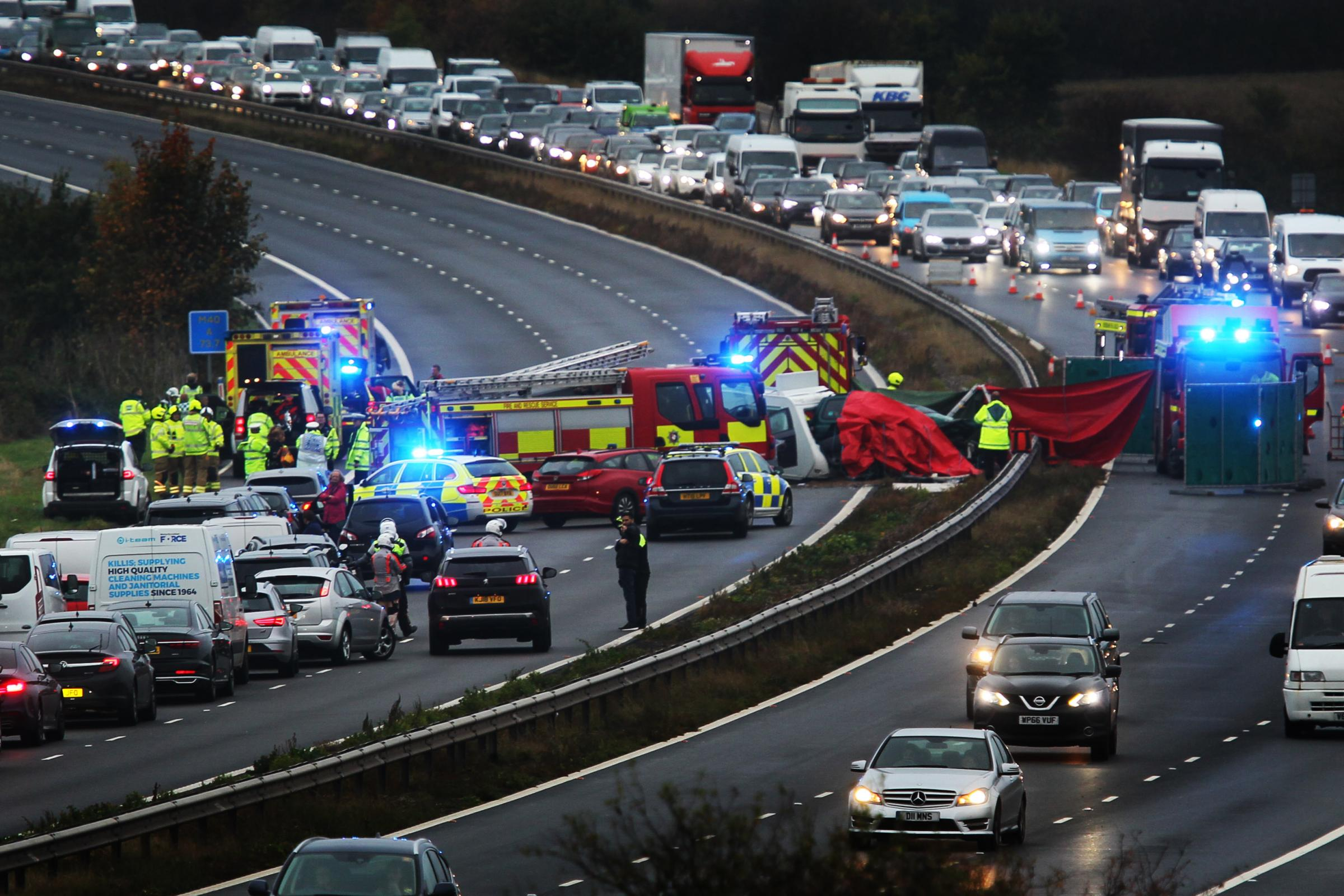 The M40 shortly after the crash yesterday. Pic: Ed Nix