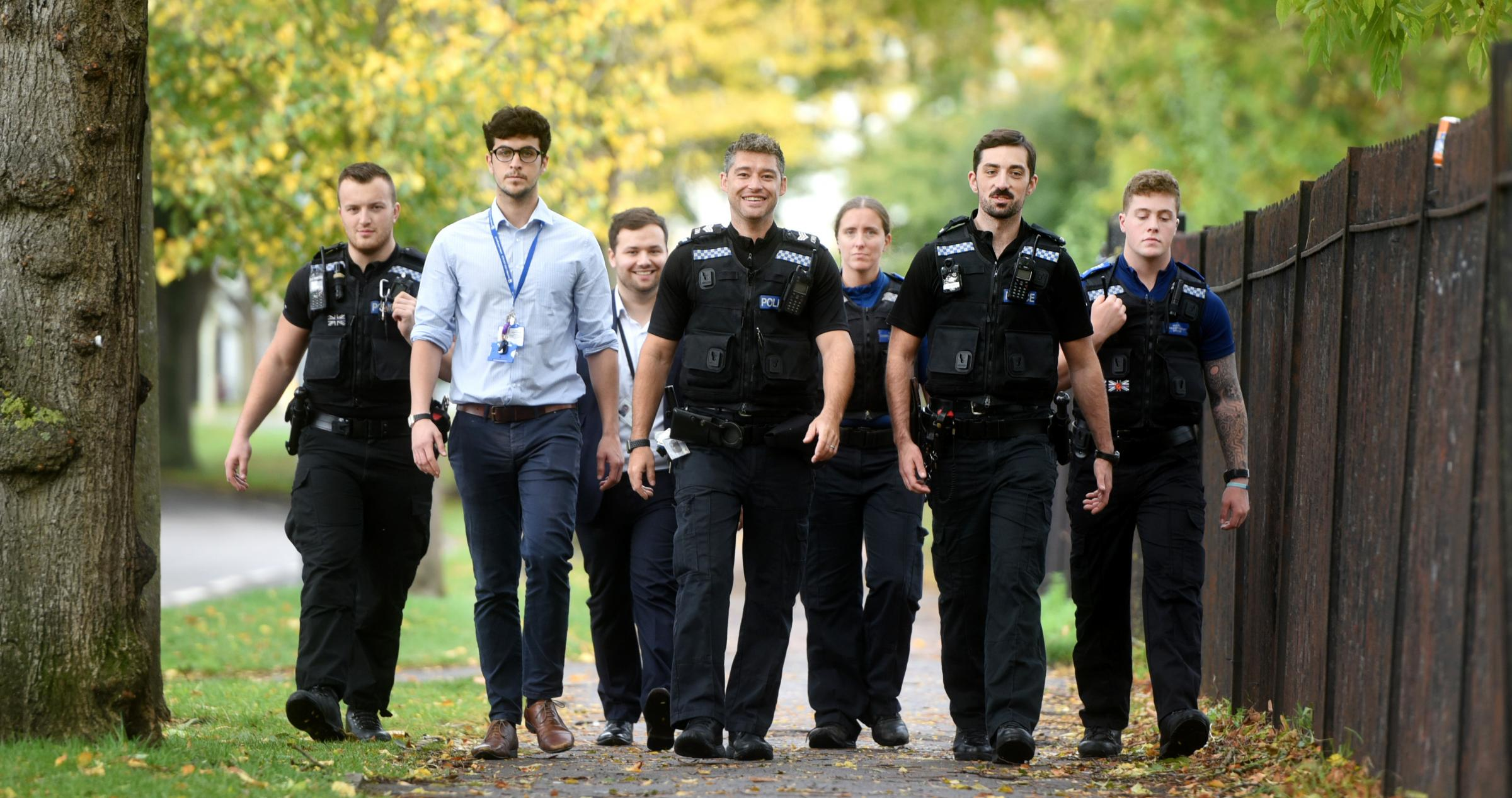(left to right: PC Watson; Olly Bayliss, city council problem solving officer; Owen Miller, Thames Valley Police problem solving analyst; Sgt Guy Elkins; PCSO Fiona Heaver; PC Prout; PCSO Cameron Noble
