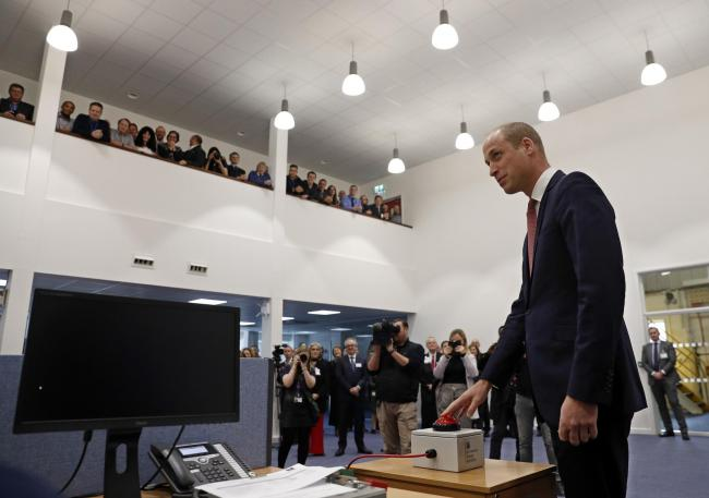 PUSH THE BUTTON: The Duke of Cambridge launches a nuclear fusion test at the UK Atomic Energy Authority Pic: Adrian Dennis/PA Wire