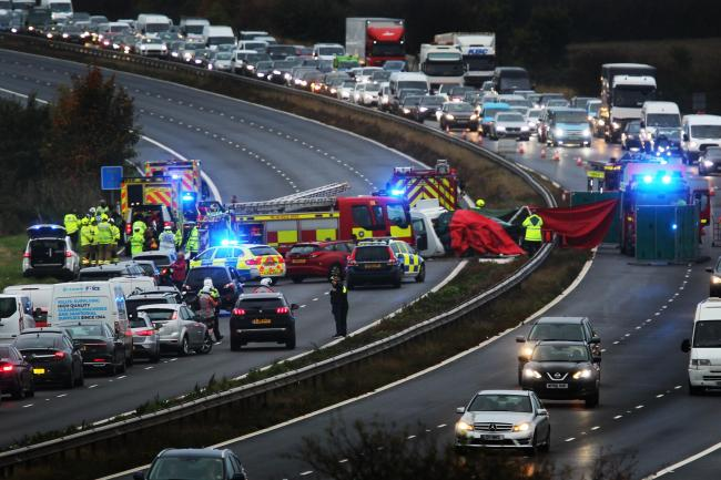 The M40 shortly after the crash on October 15. Pic: Ed Nix