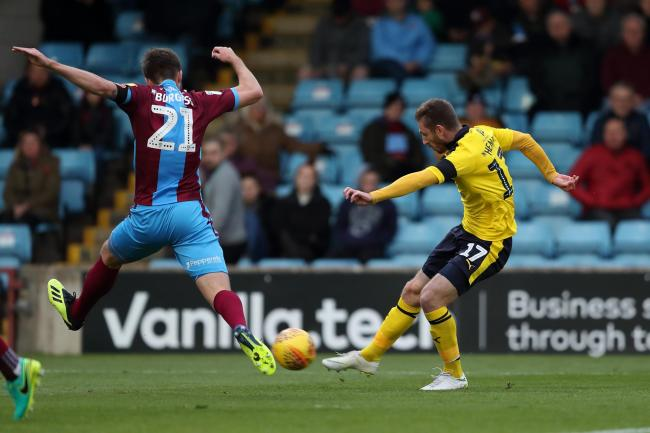 James Henry fires Oxford United in front against Scunthorpe United  Picture: James Williamson
