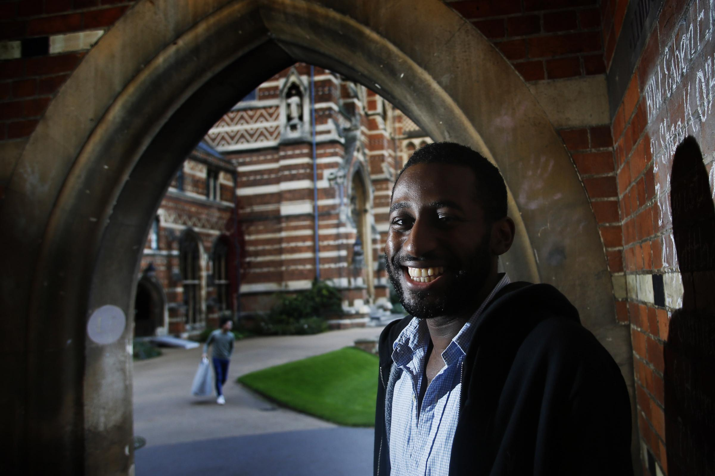 Roy Celaire, who crowdfunded his place at Oxford University, pictured at his new home – Keble College on Parks Road. Picture: Ed Nix