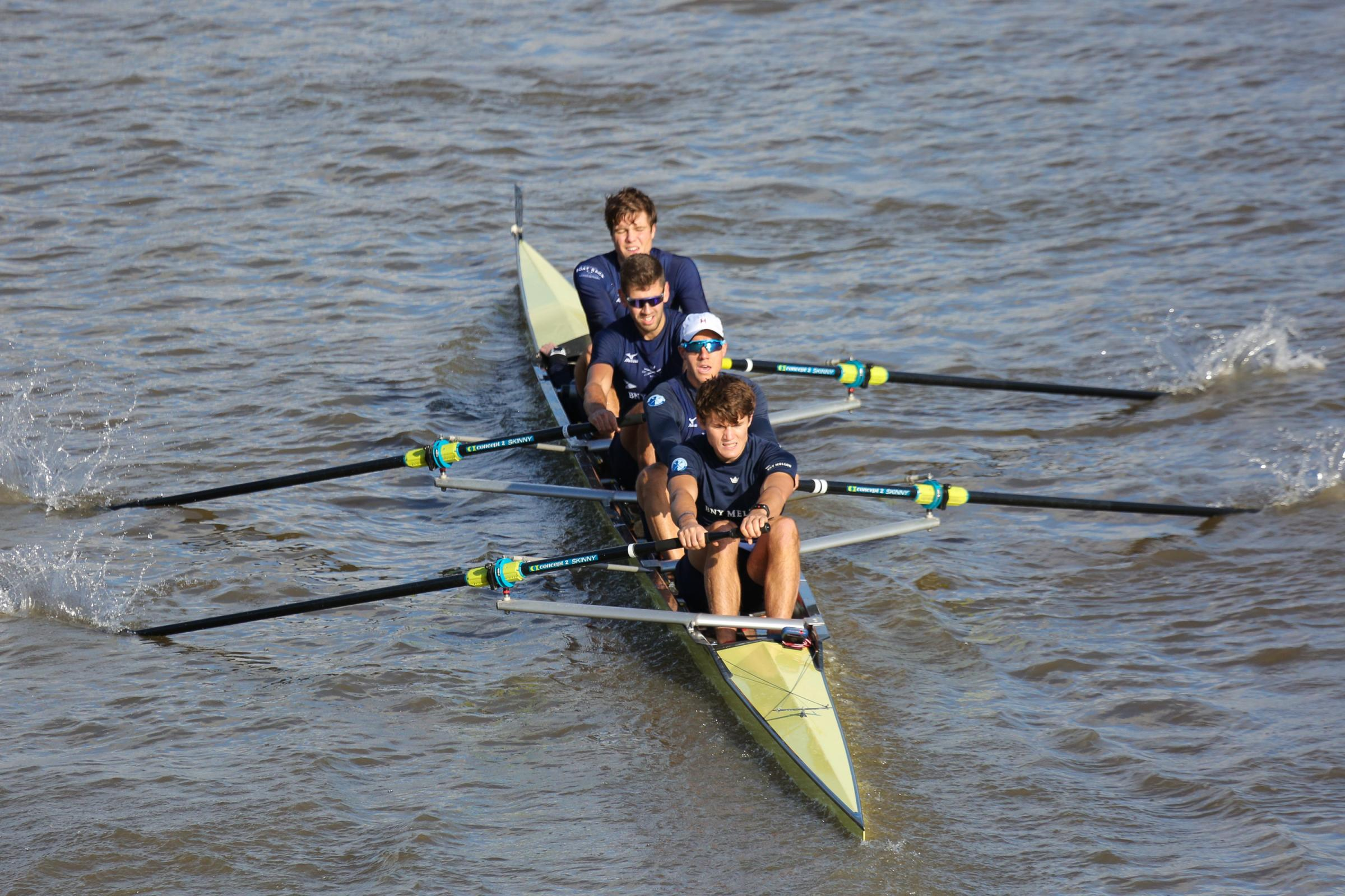 Oxford University's (Isis) men's four. From left: Charles Pearson, Augustin Wambersie, Tobias Schroder, Felix Drinkall with cox Anna Carbery (out of sight)   Picture: Bed Rodford Photography