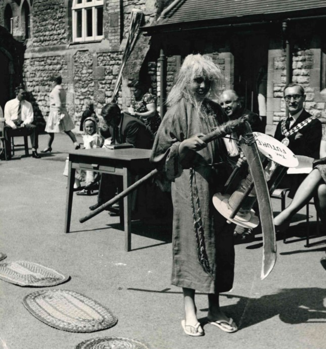 Paul Johnson, 11, played the part of Father Time as Headington Quarry School celebrated its 100th year in 1964.