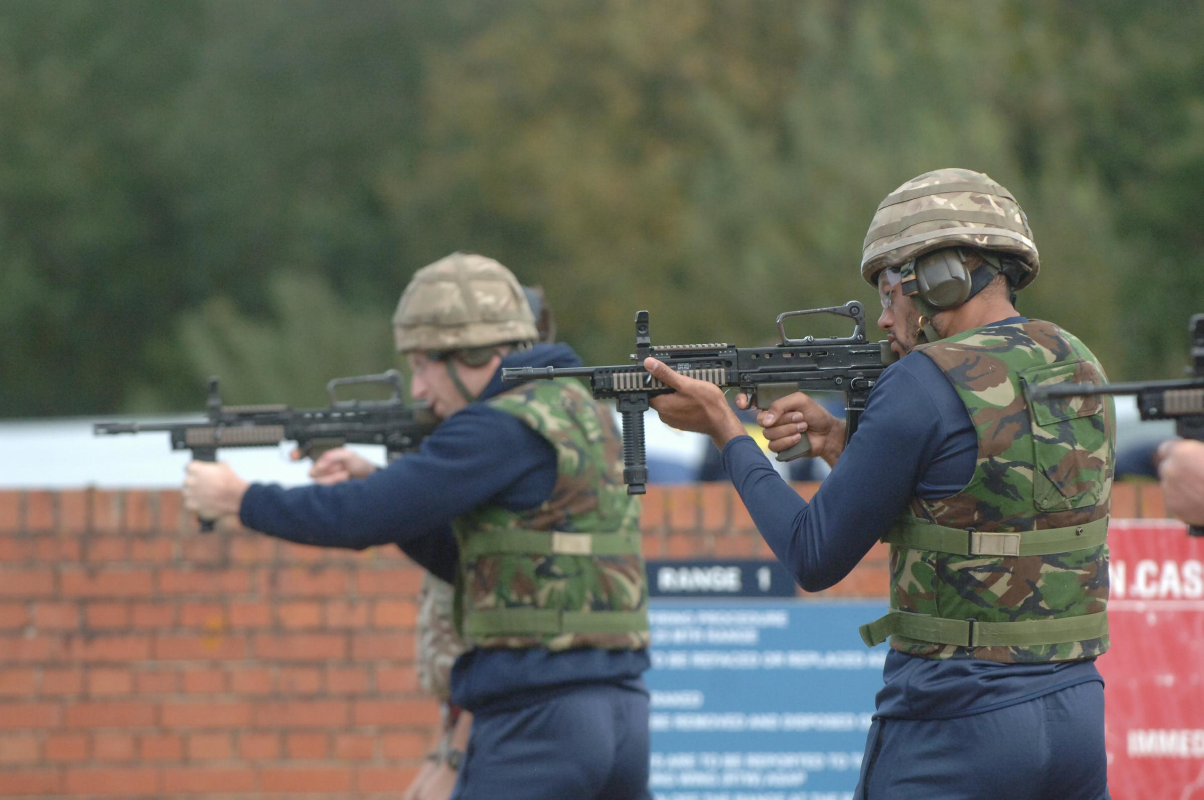 Curtis Nelson on the shooting range last year, when Oxford United's squad visited Gibraltar Barracks in Surrey