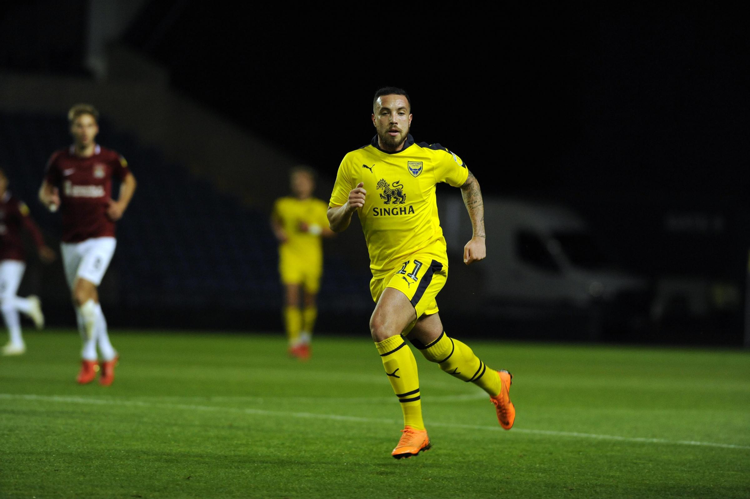 Samir Carruthers in action for Oxford United last month    Picture: David Fleming