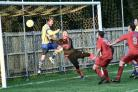 Adam Pendall heads home Clanfield's last-gasp equaliser   Picture: Paul Gibbens