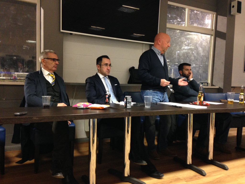 (From left) Oxford United's managing director Niall McWilliams, director Zaki Nuseibeh, OxVox chairman Colin Barson and vice chair Paul Peros at the November 21 meeting