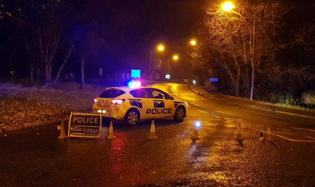 Police at the scene of the crash on Tuesday night. Pic: @TVP_WestOxon/ Thames Valley Police