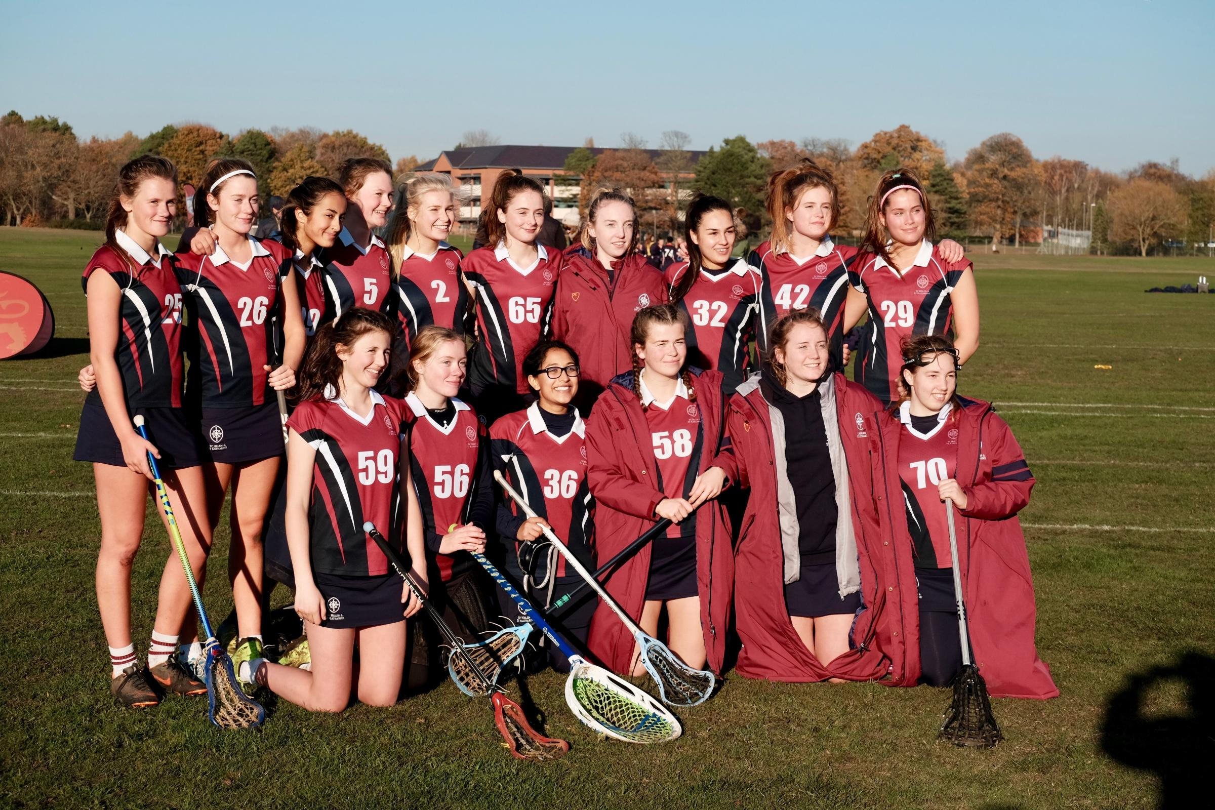 St Helen and St Katharine's senior squad at the England Lacrosse Challenge Cup event