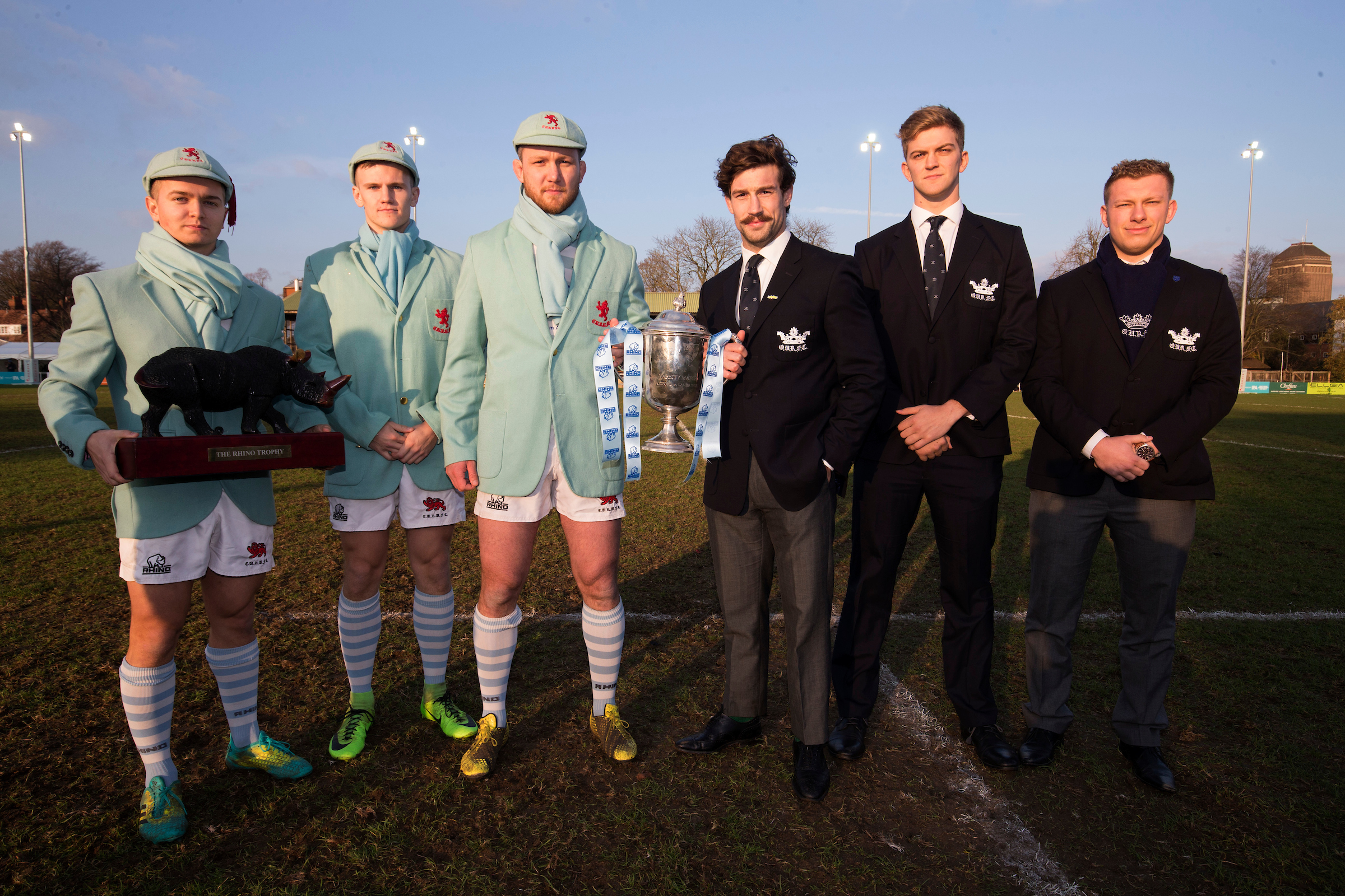 All set for battle. From left, Cambridge University's Chris Bell, Matthew Watson and Nick Koster, with Oxford's Dom Waldouck, Ollie Adams and John Aaron