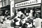 Rubbish piles up in Cornmarket in January 1979 after Oxford dustmen join a 24-hour strike by public service manual workers