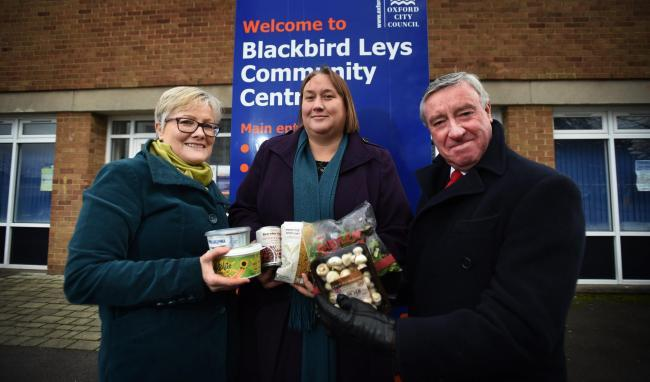 Sian Taylor, Linda Smith and Ray Humberstone posed, when plans were still up in the air, with some of the food which could now be picked up at the new community fridge in Blackbird Leys. 
