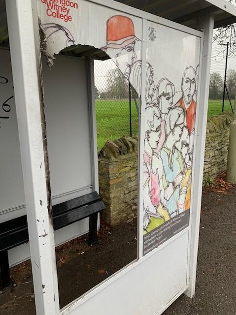 Vandals damaged an art instillation at Newland bus shelter last month, which had been created by students at Abingdon & Witney College Picture: Witney Town Council